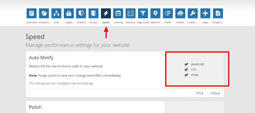 Cloudflare settings