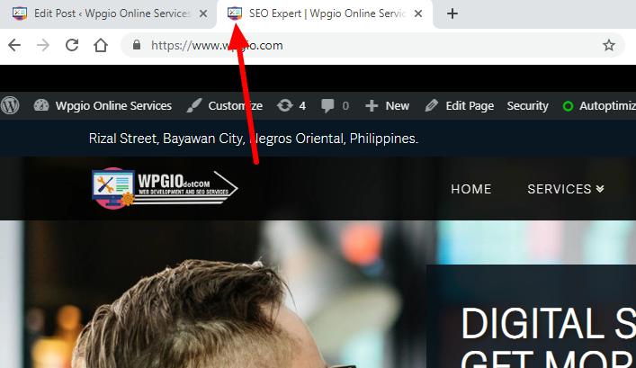 website favicon location