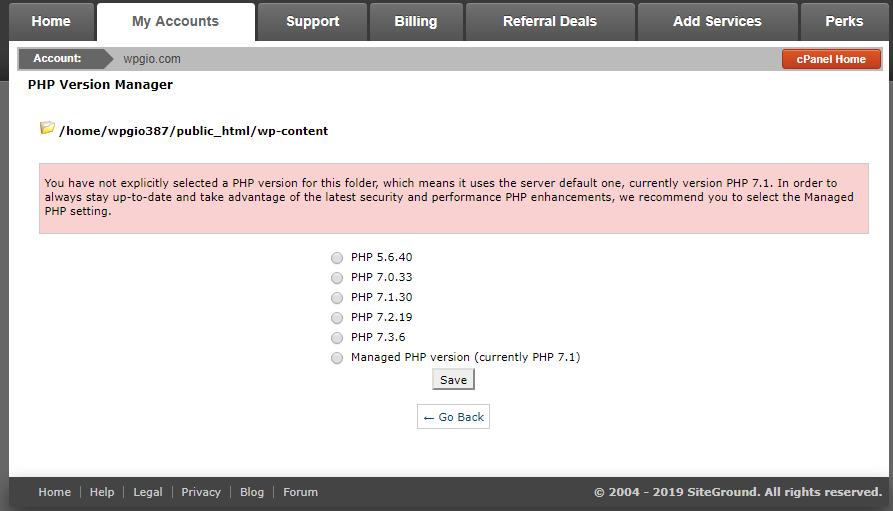 php version 7.1