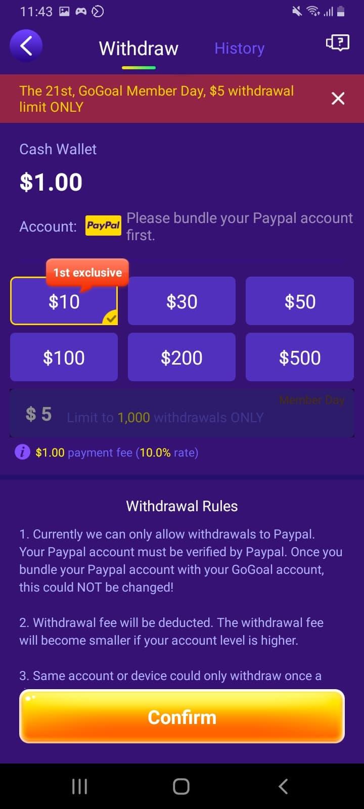 GoGoal App Review - Legit or Scam? $10 in Paypal 2